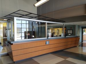 Welcome desk in jail lobby.