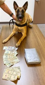 K9 Fraya with recovered drugs and cash